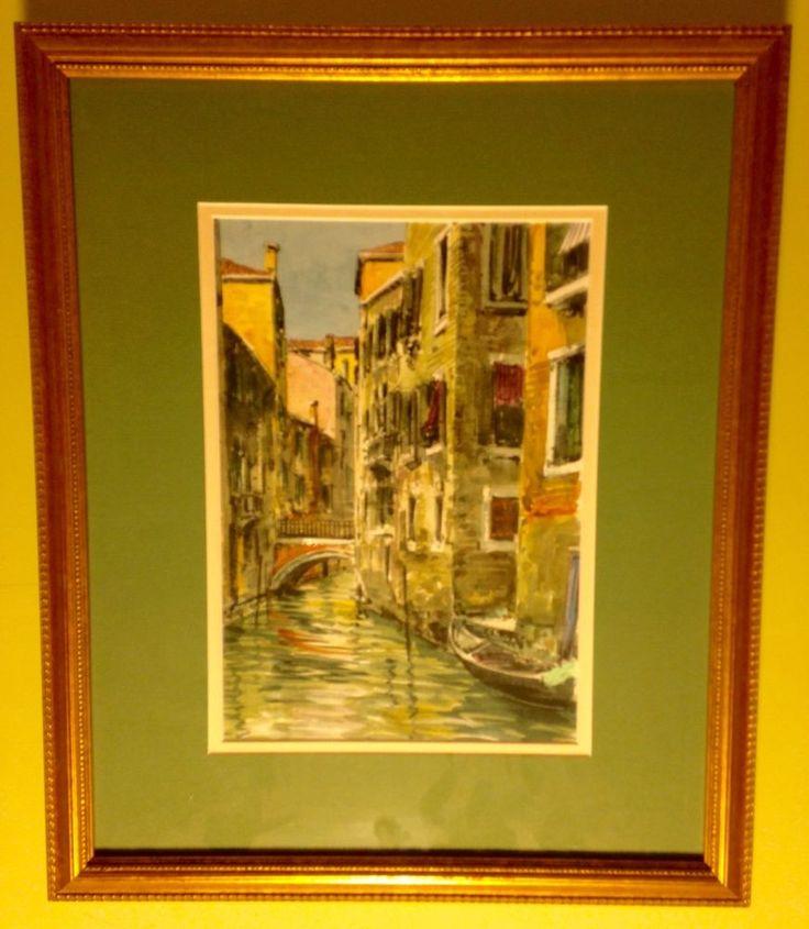 "Vintage Watercolor Painting Venice Italy Canal Gondolas Bridge 15 1/4"" x 18 1/4"""