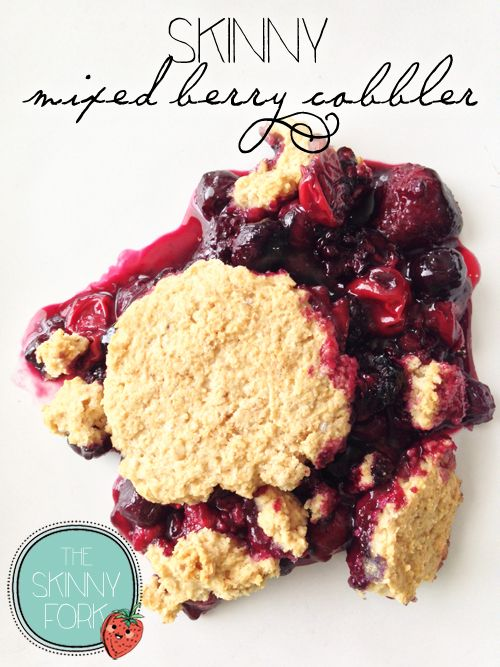 Skinny Mixed Berry Cobbler — Only 198 calories for a nice big serving of this perfectly delightful cobbler. Quick, easy, and delicious! Can be cooked in the oven or even the grill for Tailgating!