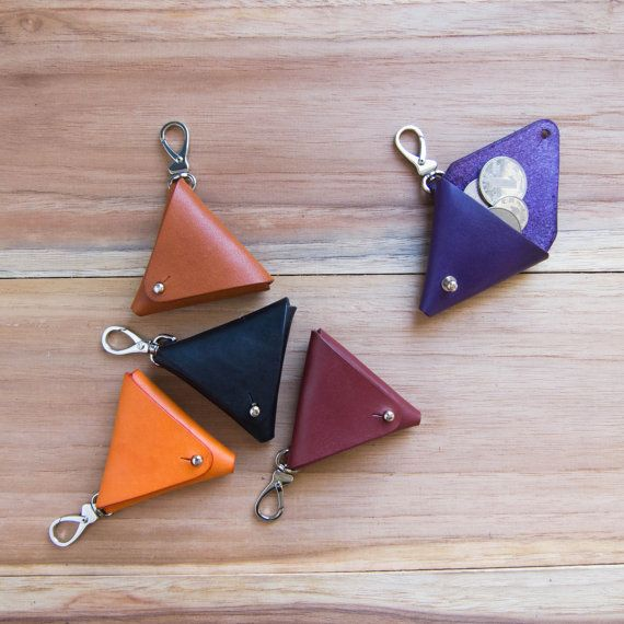 Equilateral - a handmade folded vegetable tanned leather triangle key chain / coin pouch / coin case - orange, purple, tan, black, maroon