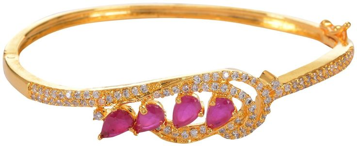 Buy pink stone studded bangle kada Bracelet Online at Low Prices in India | Amazon Jewellery Store - Amazon.in