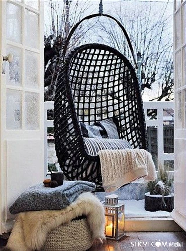Lights. Fur.  Make Your Own Winter Wonderland With These Winter Balcony Decor Ideas