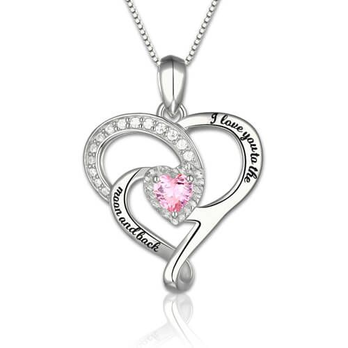 You will adore this Sterling silver I Love You To The Moon and Back Necklace! This heart pendant is a love expression for people who you loved.The twine heart design features a sparkle heart shape birthstone.The birthstone color as your choice make it unique and looks more beautiful.On the front of the pendant engraved the words 'I Love You to the Moon and Back', great words to send to someone you care about. It would have been a perfect present for valentine's day and mother'...
