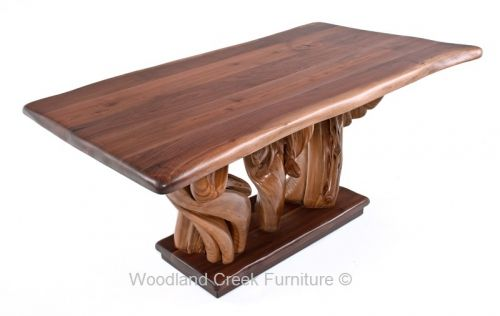 Natural Live Edge Black Walnut Table Available in Custom Sizes by Woodland Creek Furniture.