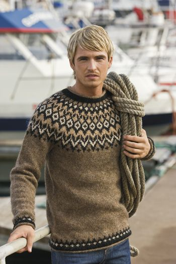 "Icelandic Fisherman's Pullover, in traditional shades of brown. Custom made to your measurements. From the Nordic Store. On their website it says, ""It will take about 7 days to knit your sweater and it will be marked with the knitter's signature."" -- Isn't that neat?!"