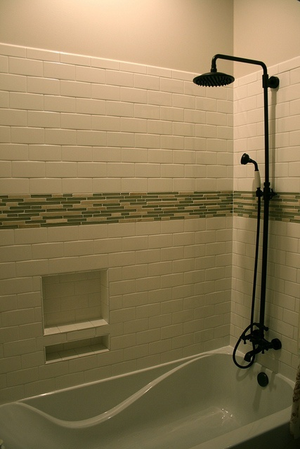 Subway Style Tiles With Mosaic Accent Rain Shower Head