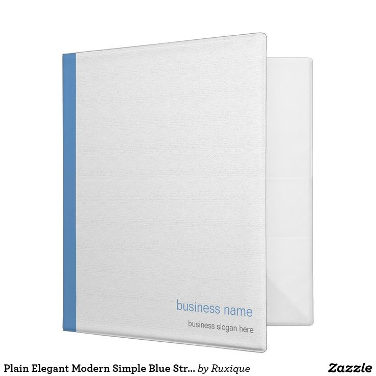 Plain Elegant Modern Simple Blue Stripe on White Binder