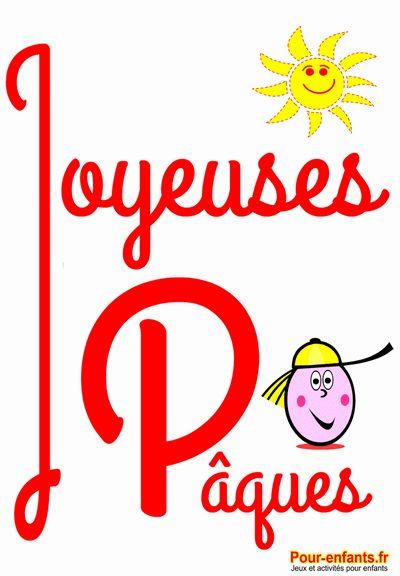 Joyeuses Pâques dessin de PAQUES à imprimer grandes lettres