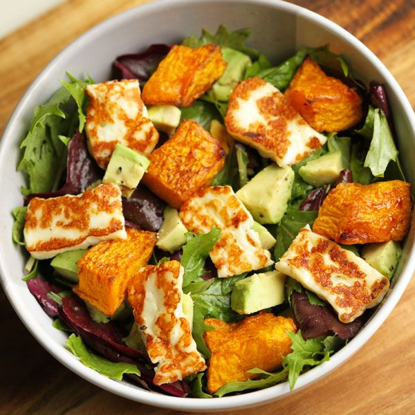 Gone are the days of bland and boring salads!  This pumpkin, haloumi and avocado salad makes for a perfect weeknight dinner - minimal effort, maximum taste.
