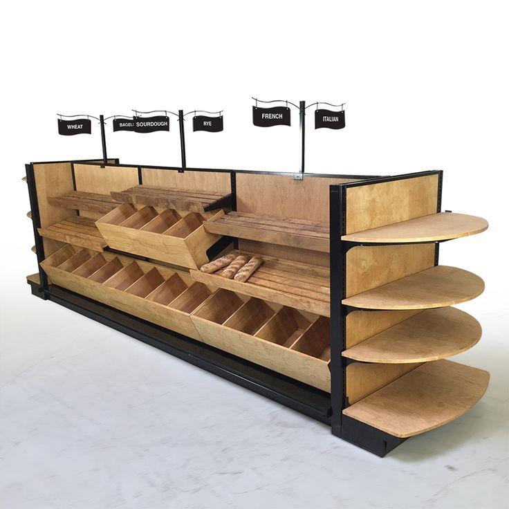 Pastry Display Case | Wood Bread & Bakery Slatted Shelf Fixture