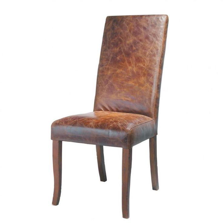 Silla de cuero y madera marrón Vintage