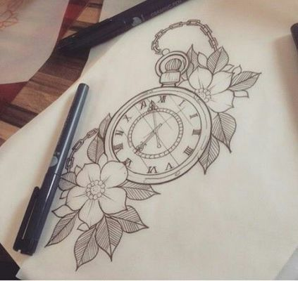 Traditional Pocket Watch Tattoo Outline