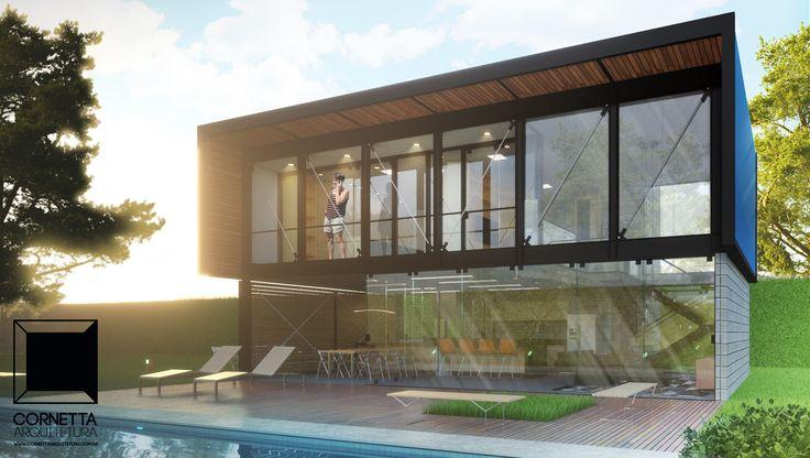 Projeto para sobrado tipo loft de 150m2 em aço, madeira e bloco estrutural. Será construído na cidade de Jardinópolis, interior de São Paulo. Confira!