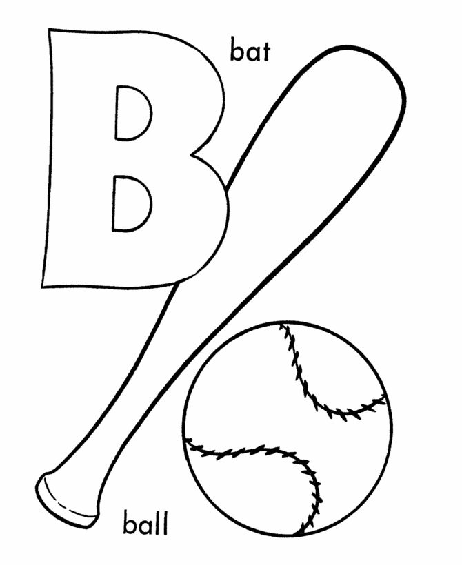 alphabet coloring pages ball bat activity cartoon coloring pages - Alphabet Coloring Pages