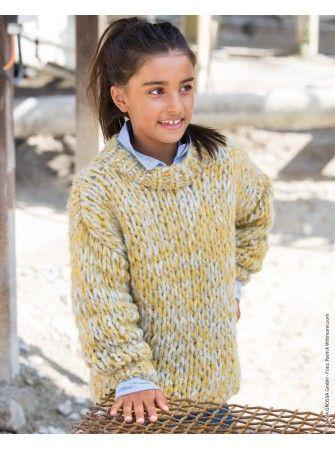Strickanleitung Grobstrickpullover für Kinder gestrickt mit voluminösem Trendgarn / knit pattern for thick knit pullover via lanagrossa.de