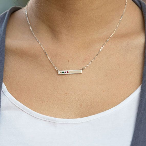 Birthstone Bar Necklace stamped with Blessed.  by NelleandLizzy
