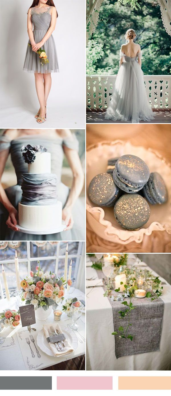 Odstíny šedé, béžové a jemně růžové grey wedding color ideas 2017 and tulle bridesmaid dress