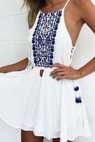 Sexy Strap Print Chiffon Mini Dress