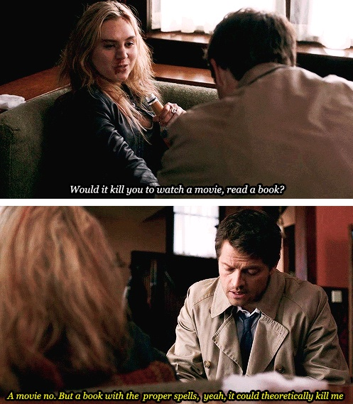 """[SET OF GIFS] 8x17 Goodbye Stranger (that's a great line but I still think Meg's pick up line """"we're gonna order a pizza and move some furniture if ya know what I mean"""" and Cas's reply """" no I dont, yes I do"""" is way better)"""