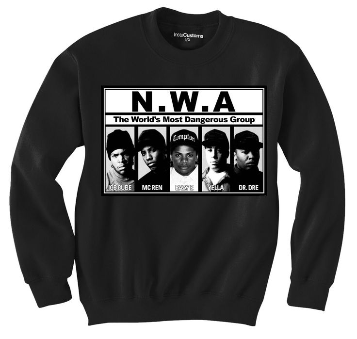 """Get our """"N.W.A"""" crew-neck with featuring the members of the infamous """"niggaz wit attitudes"""" hip hop group from Compton!"""