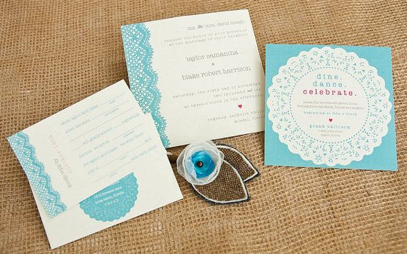 Lace Doily Wedding Invitation Suite with Twine Belly by lvandy27