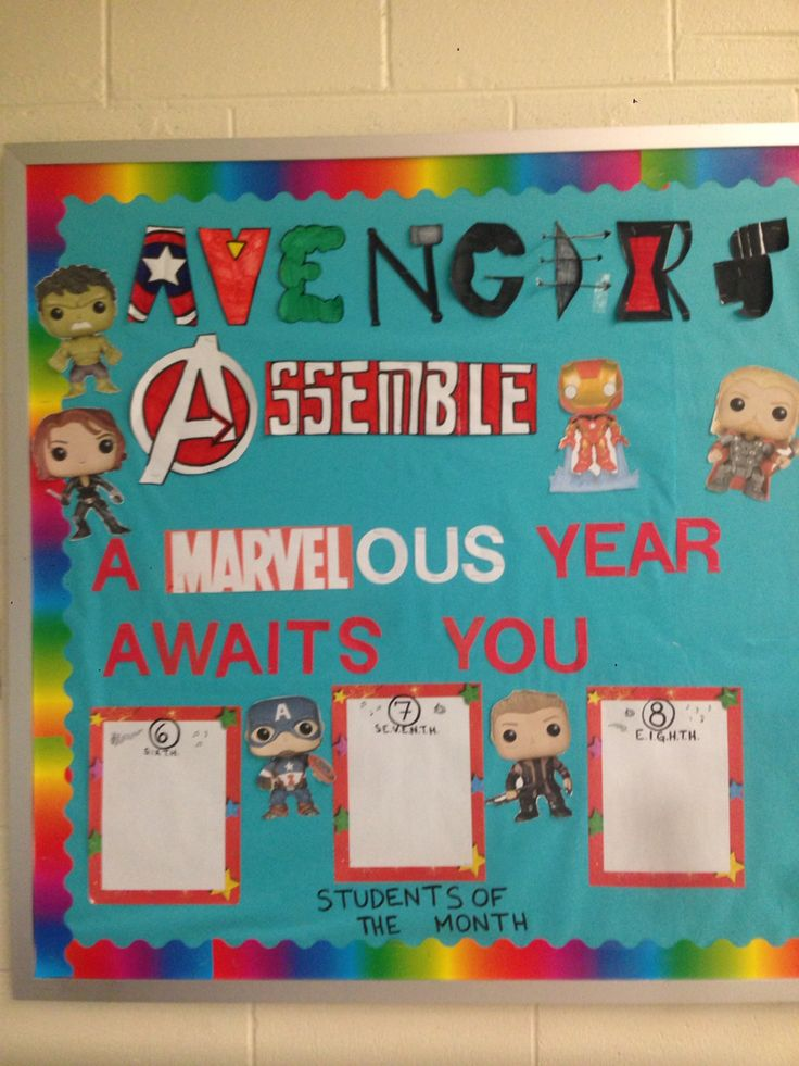 Avengers bulletin board for middle school band!