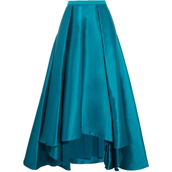 Badgley Mischka Mikado pleated crepe de chine maxi skirt (€330) ❤ liked on Polyvore featuring skirts, teal, floor length skirt, long ankle length skirts, long blue skirt, teal skirt and asymmetrical hem skirt