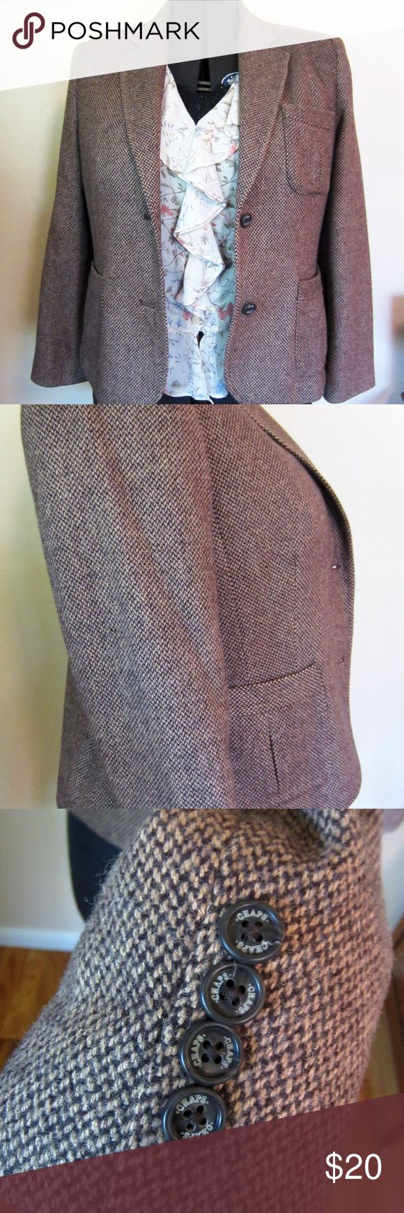 Chaps by Ralph Lauren Tweed type Jacket/blazer EUC Versatile two button tweed type jacket goes to work over a blouse or play paired with jeans and booties. Classic 4 button sleeve detail.  Fabric Content: 60% viscose/ 40%wool with 100% polyester lining  Belle the Acme mannequin is sized at: XL/1X with a DD bust   Pairs beautifully with these pants in my closet: https://poshmark.com/listing/Lee-Relaxed-Fit-Pants-59a1bba641b4e0d33c0184c4  And this blouse in my closet…