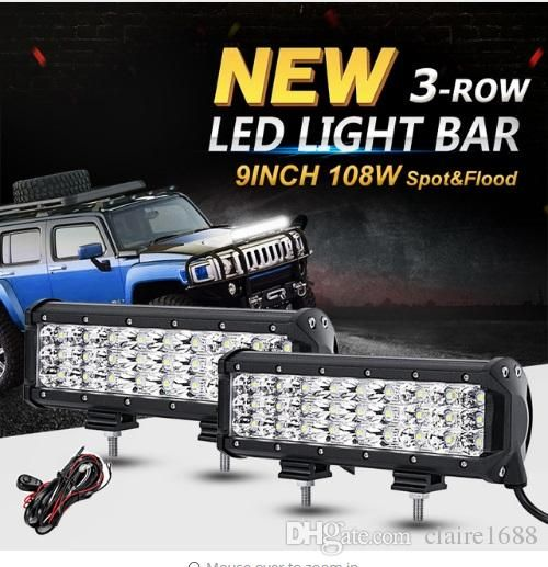 2PCS 9inch 108W 3-Row CREE Chips LED Offroad Light Bar Driving Lamp Combo Beam Led Work Lights 12v 24v Truck SUV ATV 4x4 4WD - $132.99