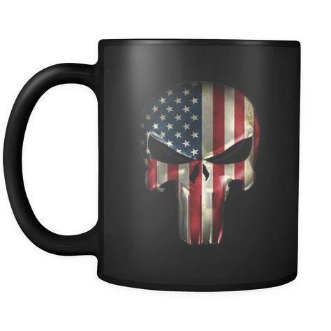 American Flag Punisher Smooth Black Coffee Mug