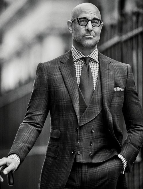 Stanley Tucci as Dezi Marino of Italian/British Fashion Duo Marino and Windsor in Checkered Hearts