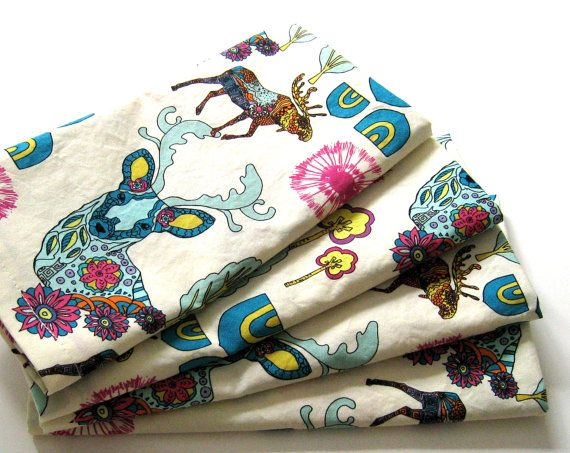 Cloth Napkins  Sets of 4  Teal Cream Pink Yellow by ClearSkyHome