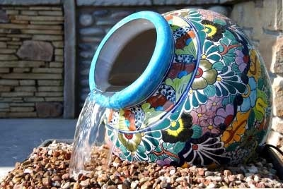 Mexican pottery water fountain