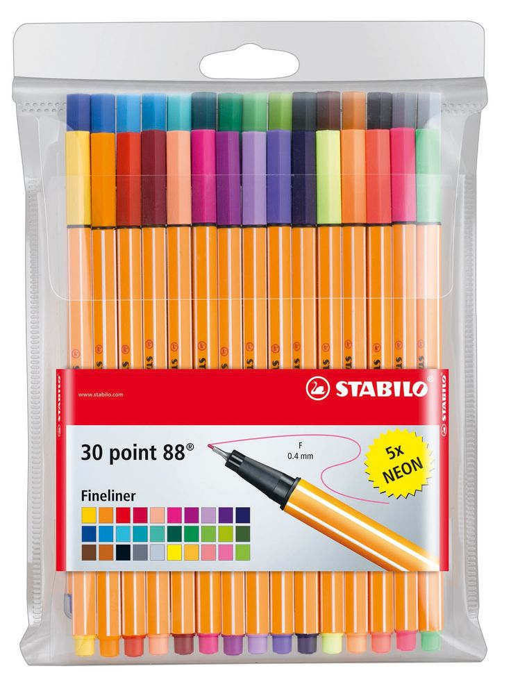 Amazon.com : Stabilo 88 30-Color Wallet Set : Artists Markers : Office Products $16.99