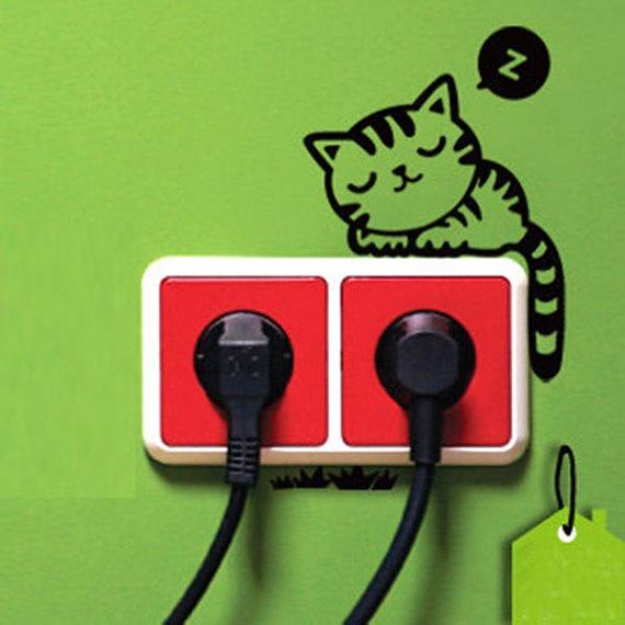 Sleeping Cat Light Switch Decal Wall Decal Wall door IsabelGadgets, $1,99