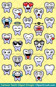 Toothy Emoji Clipart Faces / Cute Tooth Teeth Emojis Emotions Expressions