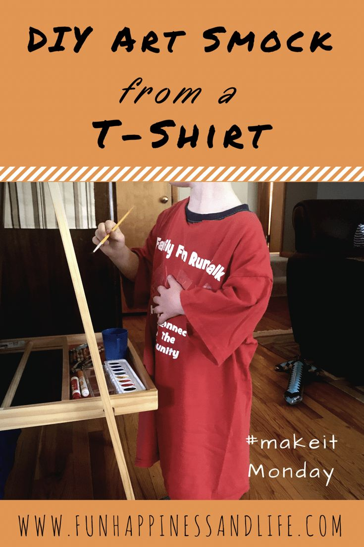Upcycle an old t shirt to use for your child's art smock. The kids will be so comfortable and it will save there clothes. This quick easy sewing craft takes only 5 minutes from start to finish.