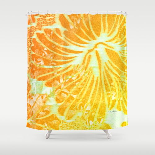 Tropic Sun Shower Curtain by Vikki Salmela, #new #bright #orange #yellow #tropical #Hawaiian #hibiscus #flowers #floral #art for #home #fashion #decor for #bathroom #shower #tub #apartment or #gift. Sunny and warm to add a special look to your #designer room.