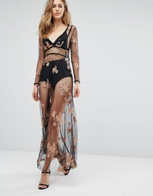 Boohoo Embroidered Mesh Sheer Maxi Dress