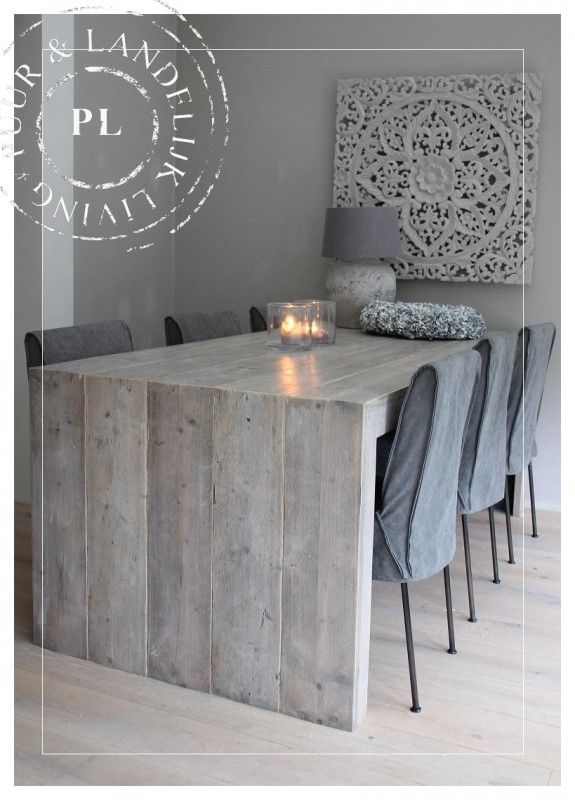 Maatwerk / stoere landelijke eettafel / FRANCE LOVE LOVE LOVE THIS TABLE!!!!! and the gray wall :D