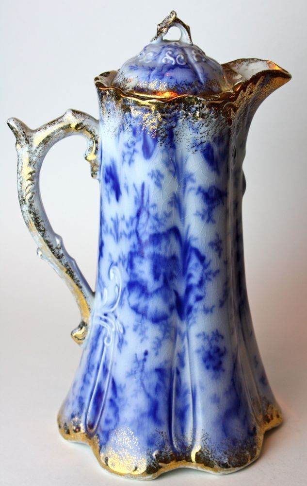 Antique Warwick China Chocolate Pot Flow Blue Gold Trim Vtg BEAUTIFUL