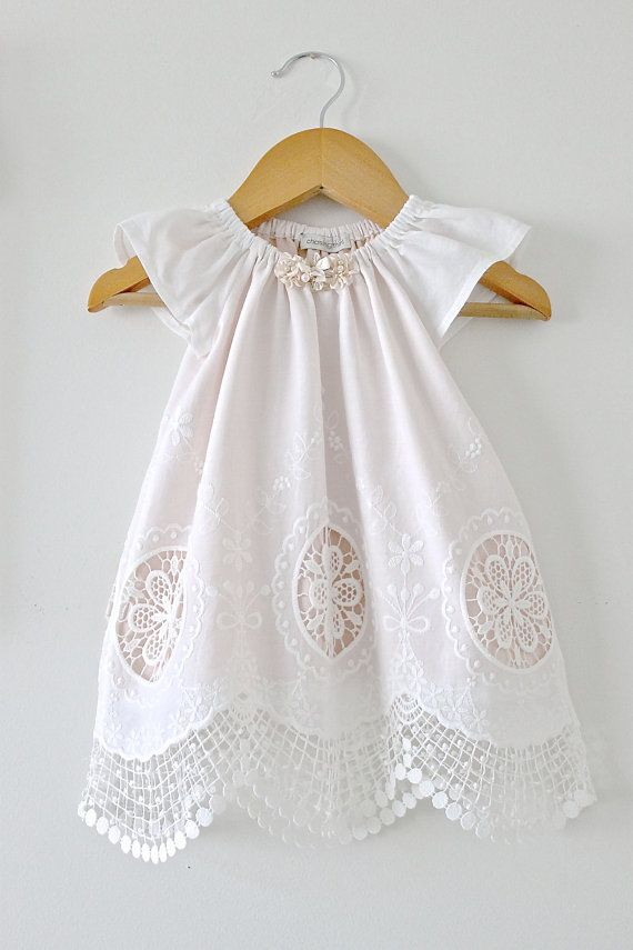 Baby Girl Baptism DressAntique White Lace and Peach by ChasingMini