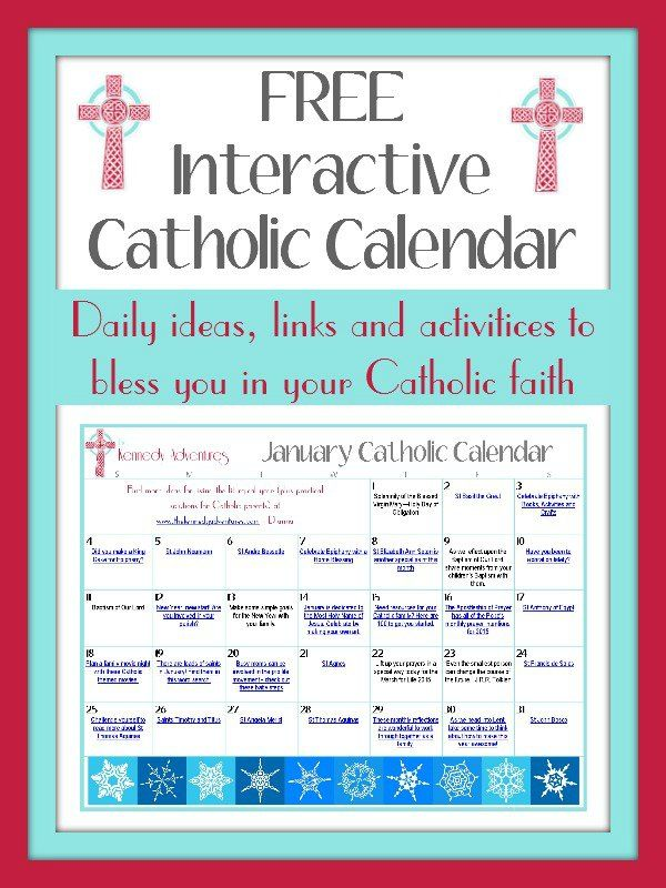 Celebrate the liturgical year and plan for the upcoming feast days and Holy Days with this FREE interactive Catholic Family Calendar. Print it our or access it online to peruse links for crafts, recipes, books, printables and more.