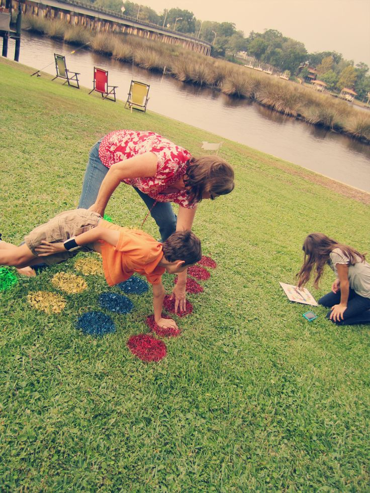 """Another fun lawn game? Twister! Use spray paint to create the """"board."""""""
