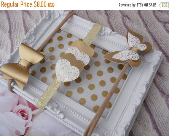 ON SALE Butterfly Gold bow White Glitter Sparkle Hair Bow,Hair Bows,Sparkly Bow,Glitter Bow Set,Pink Glitter Clip,Glitter Bow Clip,Mini Hair