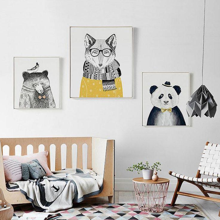 Cute Cartoon Animal Illustrations Decorative Canvas Wall Art Prints Minimalist Nordic Art Posters For Nursery Room Home Decor