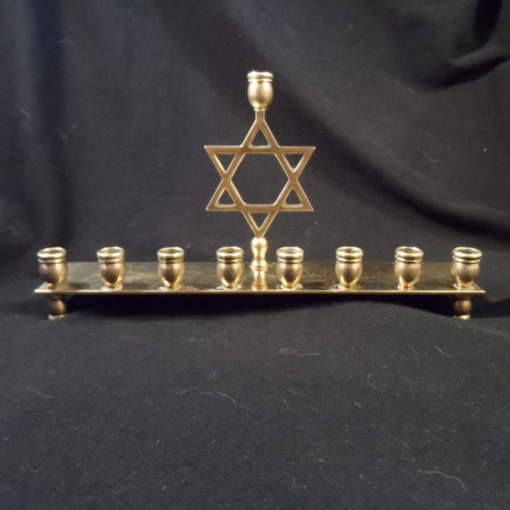 Brass Candelabra -Menorah 9 Candle Holder-Vintage Jewish Candle Holder by BCScollectibles on Etsy
