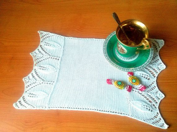 White Knitted Runner  White Handmade Tablecloth  by LoriYarns, $29.00