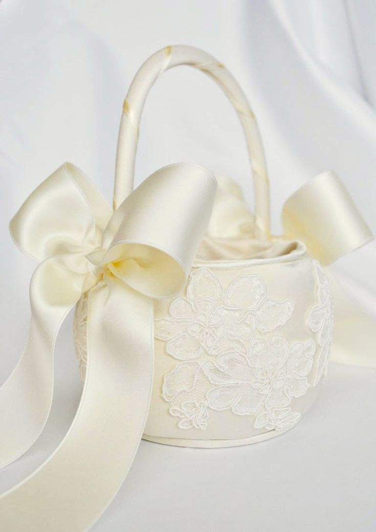Ivory Flower Girl Basket - Ivory Alencon Lace Flower Girl Basket. $40.00, via Etsy.