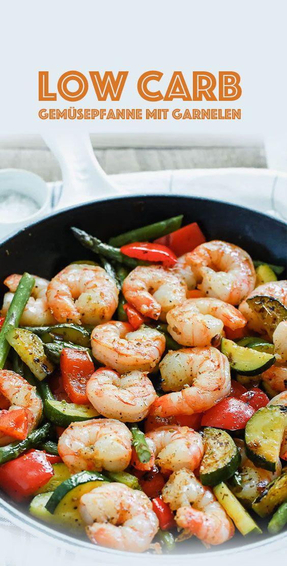 Padella per verdure a basso contenuto di carboidrati con gamberi