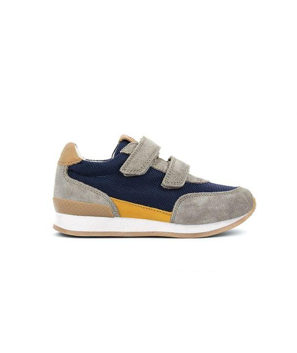 Shoes Ten J New Velcro nylon/velours navy/beige